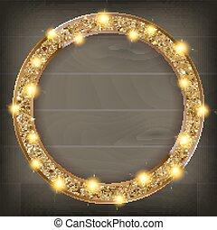 木制框架, 背景, 金, 輪