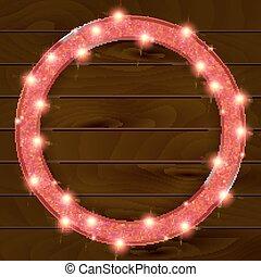 木制框架, 輪, 背景, 紅色
