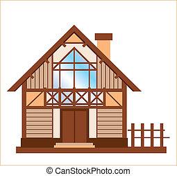 木制的房屋, 模型, 家庭