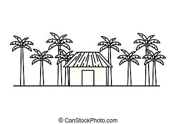 木制的房屋, 海滩, 侧面影象