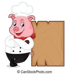 木制的支架, 廚師, 傾斜, 豬, 卡通, 吉祥人