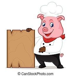 木制的支架, 廚師, 藏品, 豬, 卡通, 吉祥人