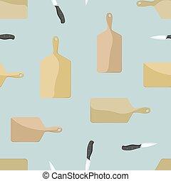 木制的板, 刀