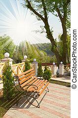 木制的长凳, 在中, the, 现代, 春天, yard.