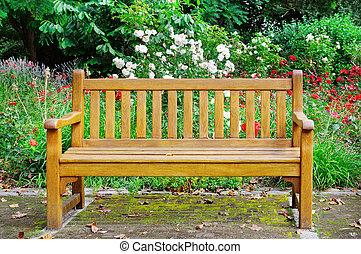 木制的长凳, 在中, the, 秋季, 公园
