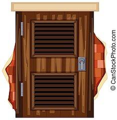 木制的門, 上, brickwall