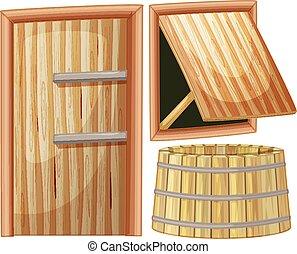 木制的門, 以及, 窗口