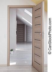 木制的門, 到, 房間