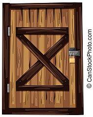 木制的門, 由于, 一, 挂鎖