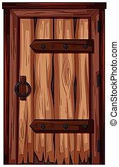 木制的門, 由于, 坏的條件