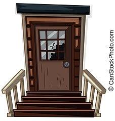 木制的門, 由于, 打破, 窗口