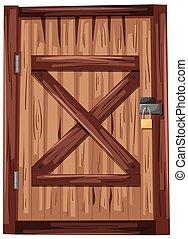 木制的門, 由于, 挂鎖