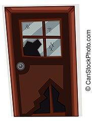 木制的門, 由于, 殘破的玻璃