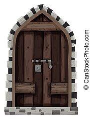 木制的門, 由于, 金屬, 鎖