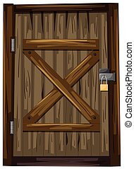 木制的門, 由于, 鎖