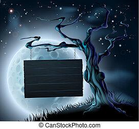 木制, 万圣节前夜, 背景, 签署
