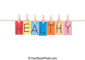 木制, 健康, 釘, 懸挂, 詞