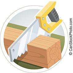 木制, 切割, hacksaw, 板