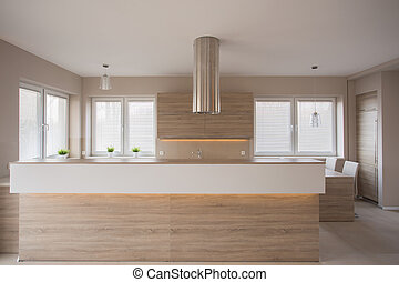 木制, 家具, 在中, 奢侈, 厨房
