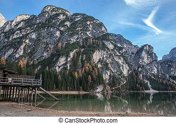 木制, 山湖, 房子