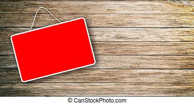 木制, 悬挂, 红的背景, 签署