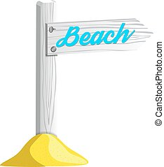 木制, 指针, 隔离, 描述, 矢量, 怀特海滩