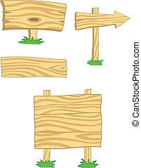 木制, 收集, 板, 签署