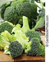木制, 新鮮, 板, broccoli
