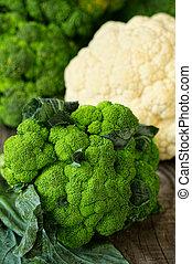木制, 未加工, broccoli, 板, 新鮮
