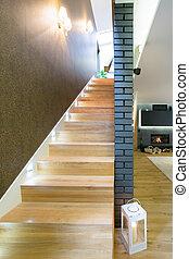 木制, 楼梯, 在中, 奢侈, 住处