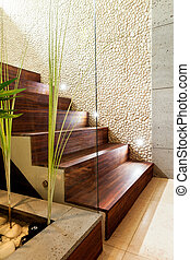 木制, 楼梯, 在中, 奢侈, 公寓