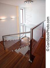 木制, 楼梯, 在中, 奢侈, 房子