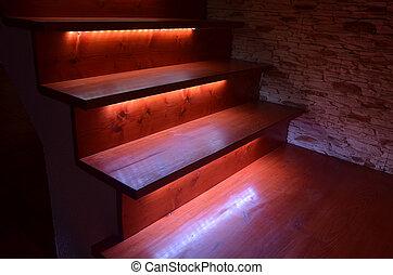 木制, 樓梯, 照明