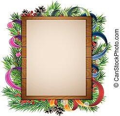 木制, 樹, 廣告欄, 分支, 聖誕節