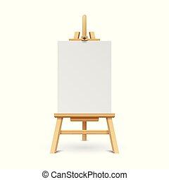 木制, 涂描, 板, 带, 白色, 空, 纸, frame., 艺术, 画架, 站, 带, 帆布, 矢量, 描述