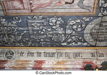木制, 瑞典, 老, 中世紀, 教堂