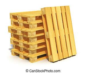 木制, 發貨, 堆, 扁平木具