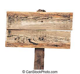 木制, 白色, 隔离, 签署