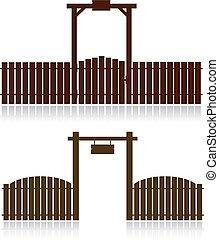 木制, 白色, 集合, 柵欄, 被隔离