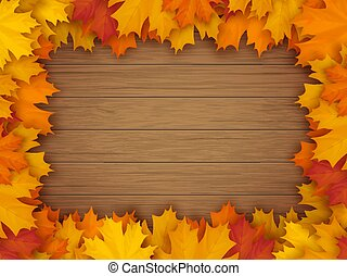 木制, 秋季树叶, 框架, 背景