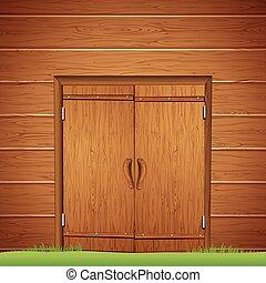 木制, 穀倉, door., 矢量, 圖像
