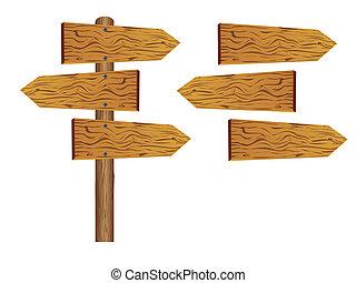 木制, 空白, 板, 签署
