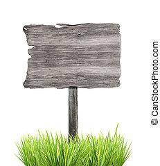 木制, 空, 签署, 在中, 草, 隔离, 在怀特上, 背景