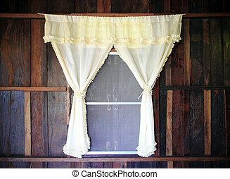 木制, 窗口, 窗帘, 老, 白色