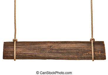 木制, 签署, 绳索, 背景, 悬挂, 消息
