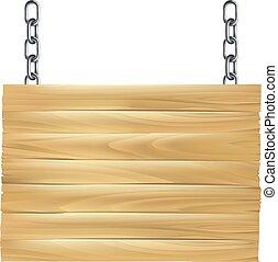 木制, 签署, 连锁, 悬挂