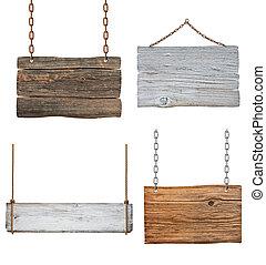 木制, 簽署, 背景, 消息, 繩子, 鏈子, 懸挂