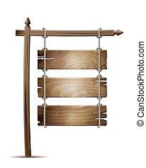 木制, 绳索, 悬挂, 板, 签署