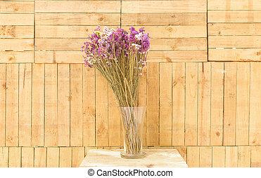 木制, 背景。, 花, 瓶