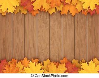 木制, 落下离开, 背景, 边界, 枫树